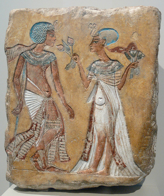 Egyptian limestone Relief of a royal couple in the Amarna style; figures usually attributed to Smenkhkare and Meritaten, but have variously been attributed to Akhenaten and Nefertiti or Tutankhamen and Ankhesenamun